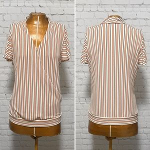 Adrianna Papell Striped Wrap Top EUC